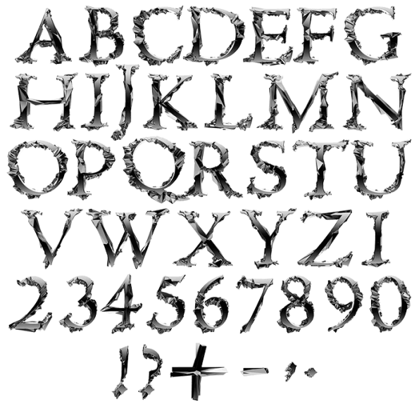 Asteroid Font letters