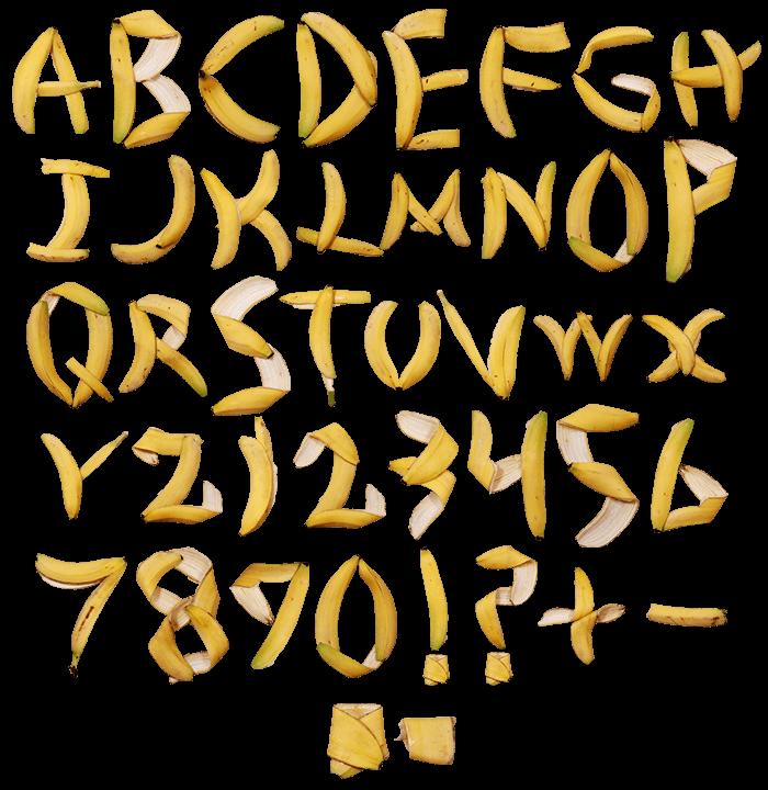 Banana Font Alphabet letters