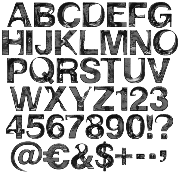 Black Move Font Alphabet