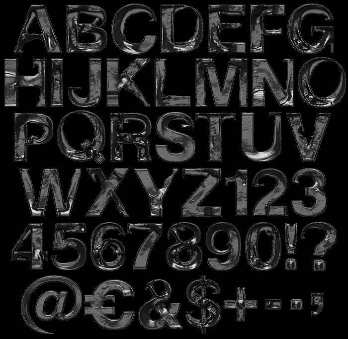Black Move Font Alphabet