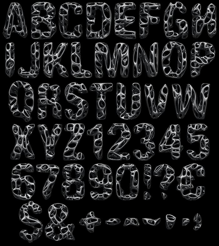 Black Net Font letters