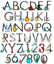 Crystal Colorful Diamond Font Alphabet