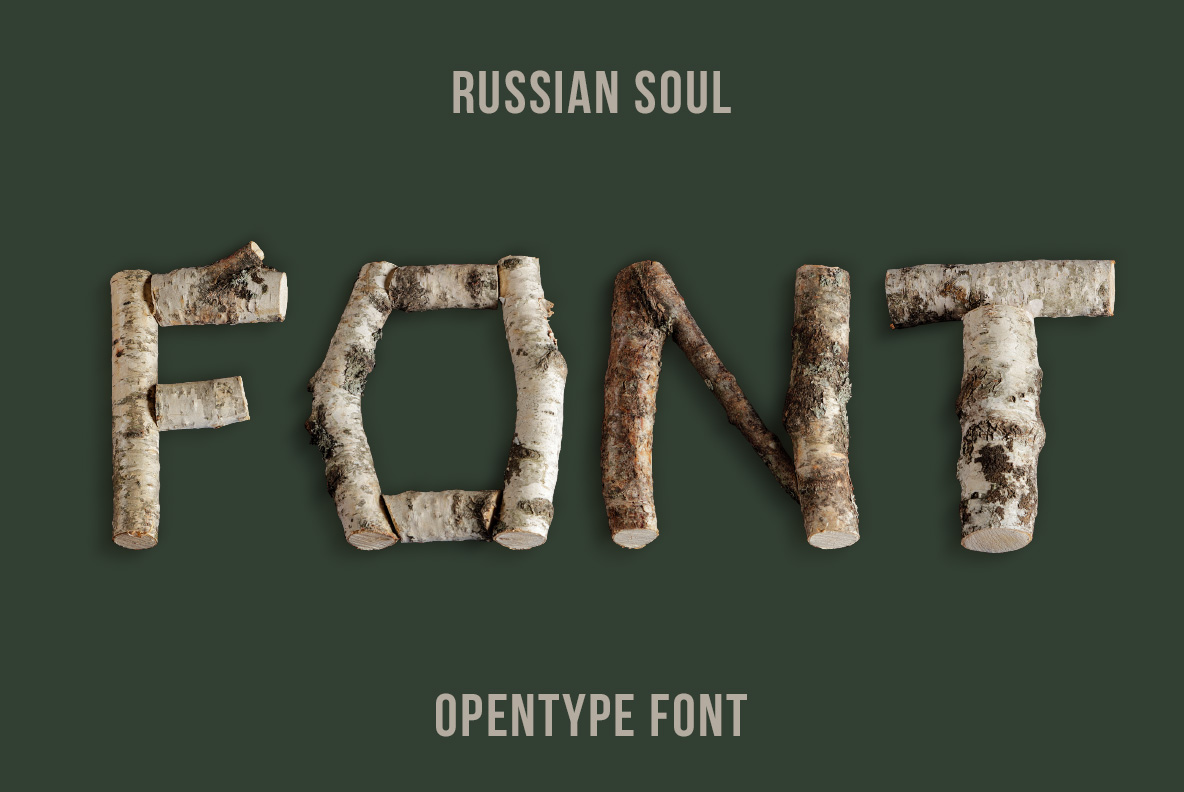 Cover of the Russian Soul Font Wooden OpenType Typeface Made By Handmade Font