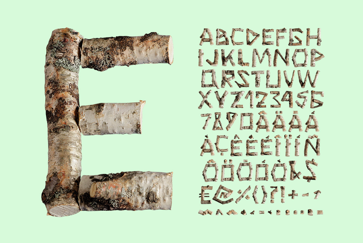 Alphabet of the Russian Soul Font Wooden OpenType Typeface Made By Handmade Font