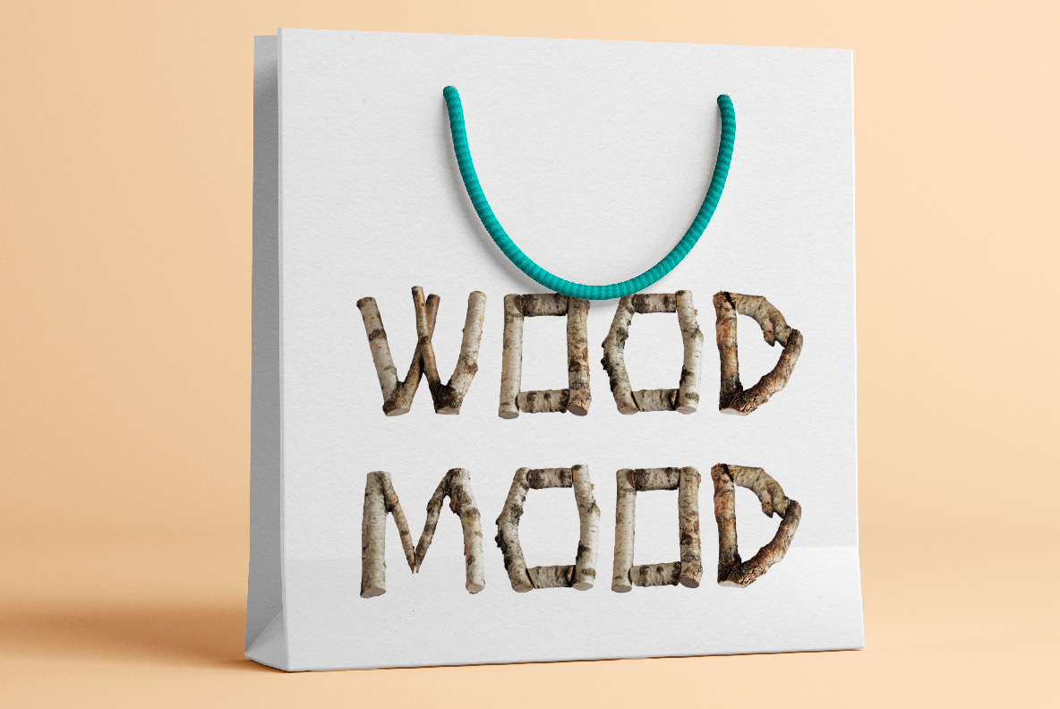 Shopping bag with Russian Soul Font Wooden OpenType Typeface Made By Handmade Font