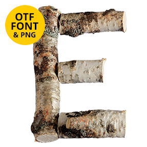 Letter E of the Russian Soul Font Wooden OpenType Typeface Made By Handmade Font