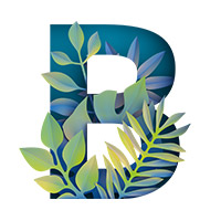 Paper Jungle Font. Letter B