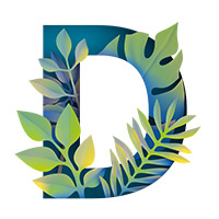 Paper Jungle Font. Letter D