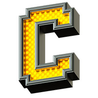 Pixel LED Font. Letter C
