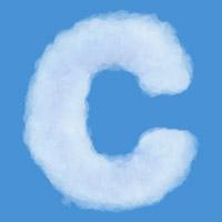 Sky Cloud Font. Letter C