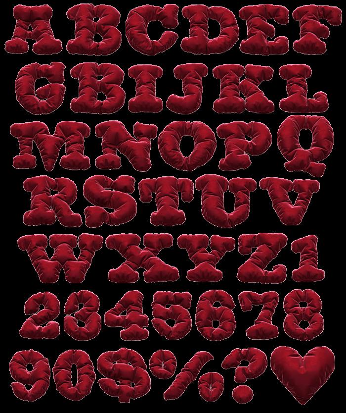 Red Textile Velvet Font