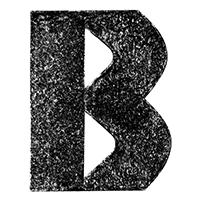 Black 3D Chalk Font Letter B