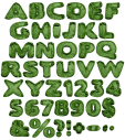 Green Blowup Font Alphabet