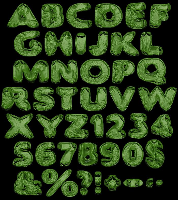 Green Blowup Font Alphabet