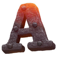 Forged Metal Font Letter A