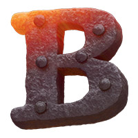 Forged Metal Font Letter B