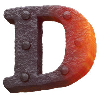 Forged Metal Font Letter D