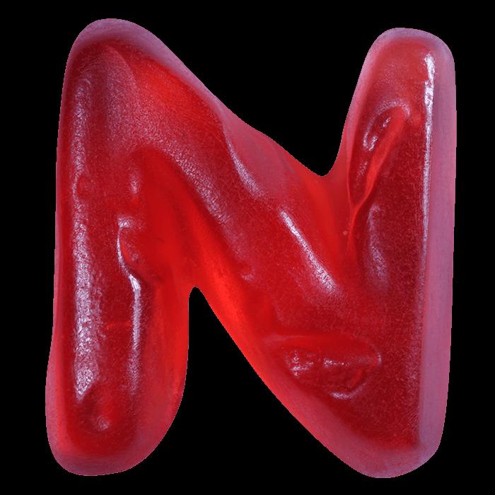 Red Sweet Haribo Font Letter N