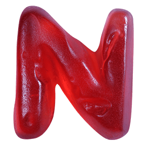 Red Sweet Haribo Font Letter N