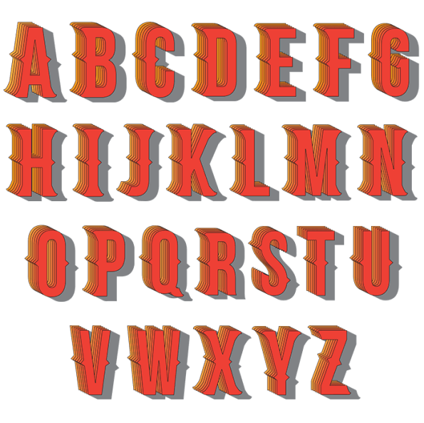 Indian Red 3D Font