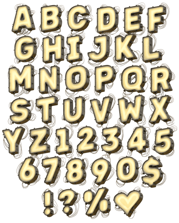 Light Metal Board Font