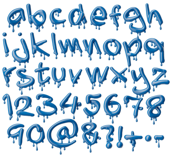 Blue 3D Liquid Melting Font