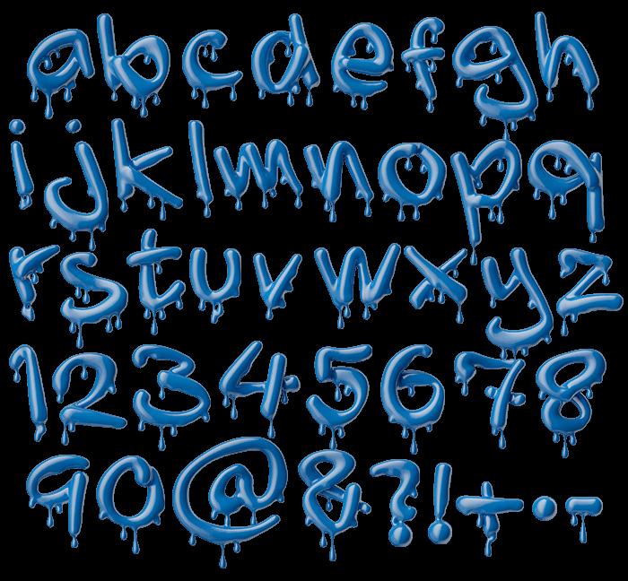 Blue 3D Liquid Melting Font