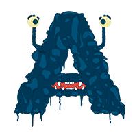 Funny Monster Font Letter A