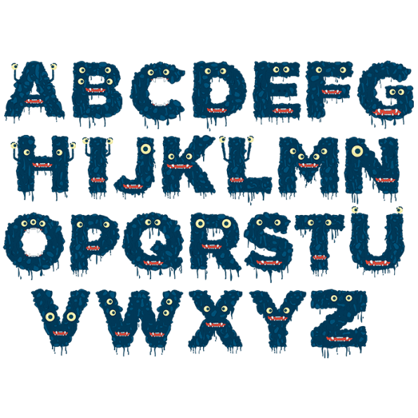 Monster Font Blue Alphabet