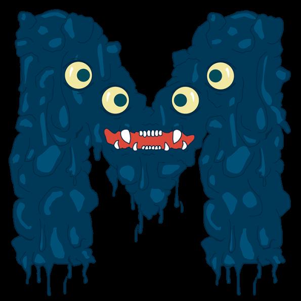 Funny Monster Font Letter M