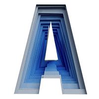 Blue Paper Cut Font Letter A