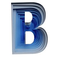Blue Paper Cut Font Letter B
