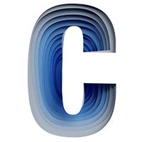 Blue Paper Cut Font Letter C