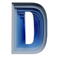 Blue Paper Cut Font Letter D