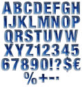 Blue Paper Cut Font Alphabet