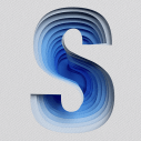 Blue Paper Cut Font Letter S