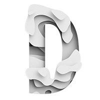 White Origami Paper Waves Font. Letter D