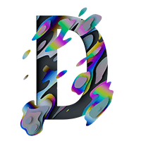 Spectral Glitch Pixel Font Letter D