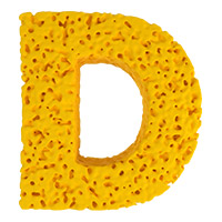 Yellow Sponge Font. Letter D