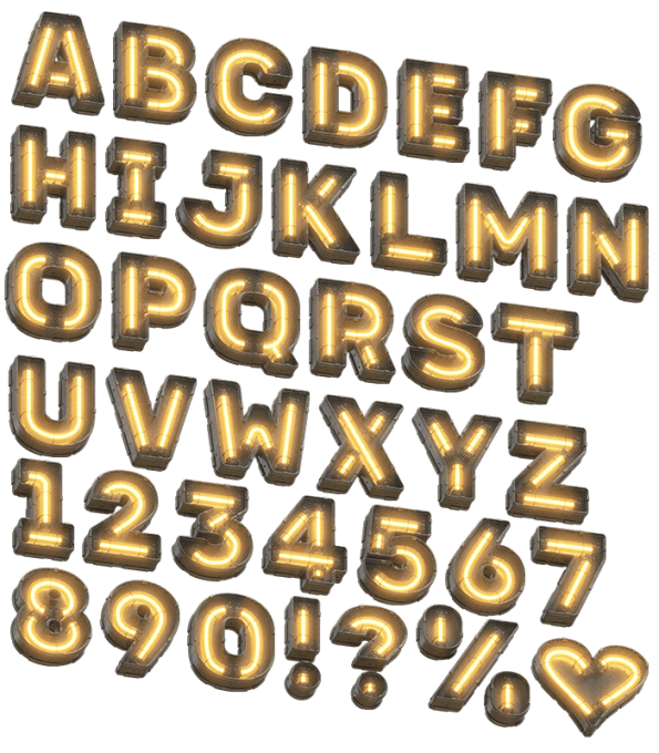 Futuristic Yellow Light Font