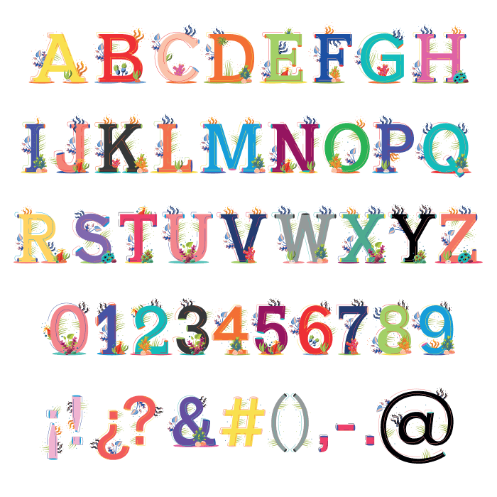 Colorful Ariel Sea Typeface