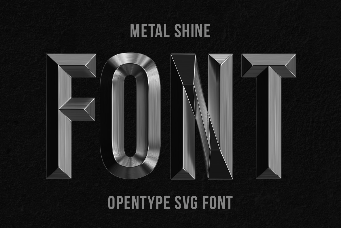 Cover of the Metal Shine Font OpenType Typeface Made By Handmade Font