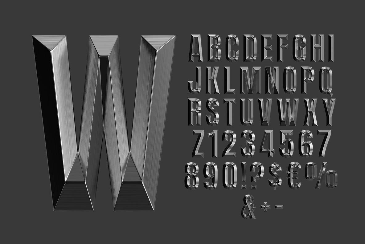 Metal Shine Font OpenType Typeface Made By Handmade Font SVG. Alphabet
