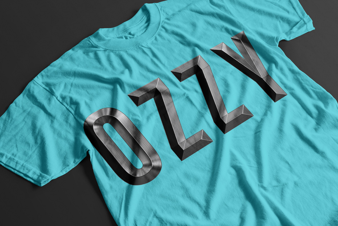 T-shirt with Metal Shine Font OpenType Typeface Made By Handmade Font