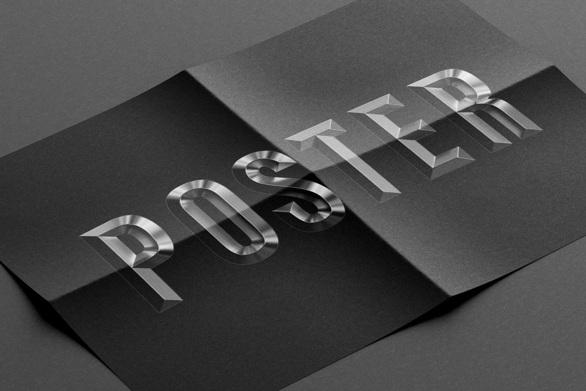 Black Poster with Metal Shine Font OpenType Typeface Made By Handmade Font