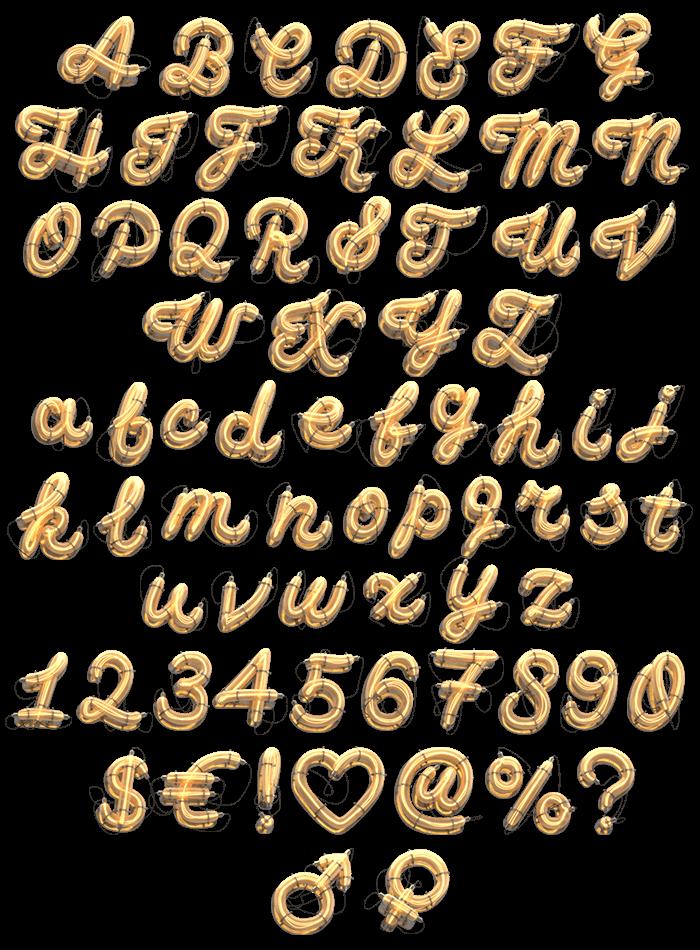Retro Neon Golden Typeface