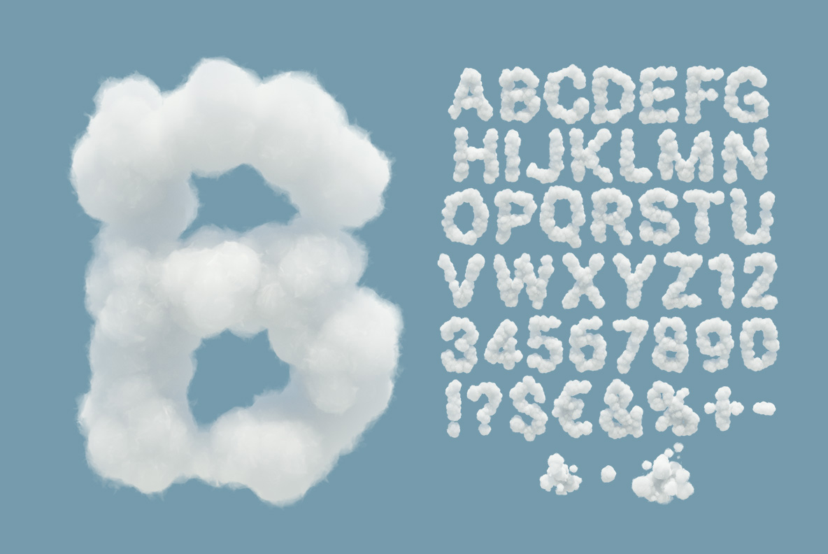 White Clouds Font OpenType Typeface SVG. Alphabet of sky clouds font