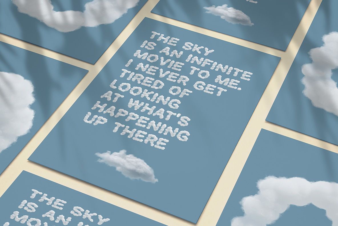 White Clouds Font OpenType Typeface SVG. Poster with long text of sky clouds font