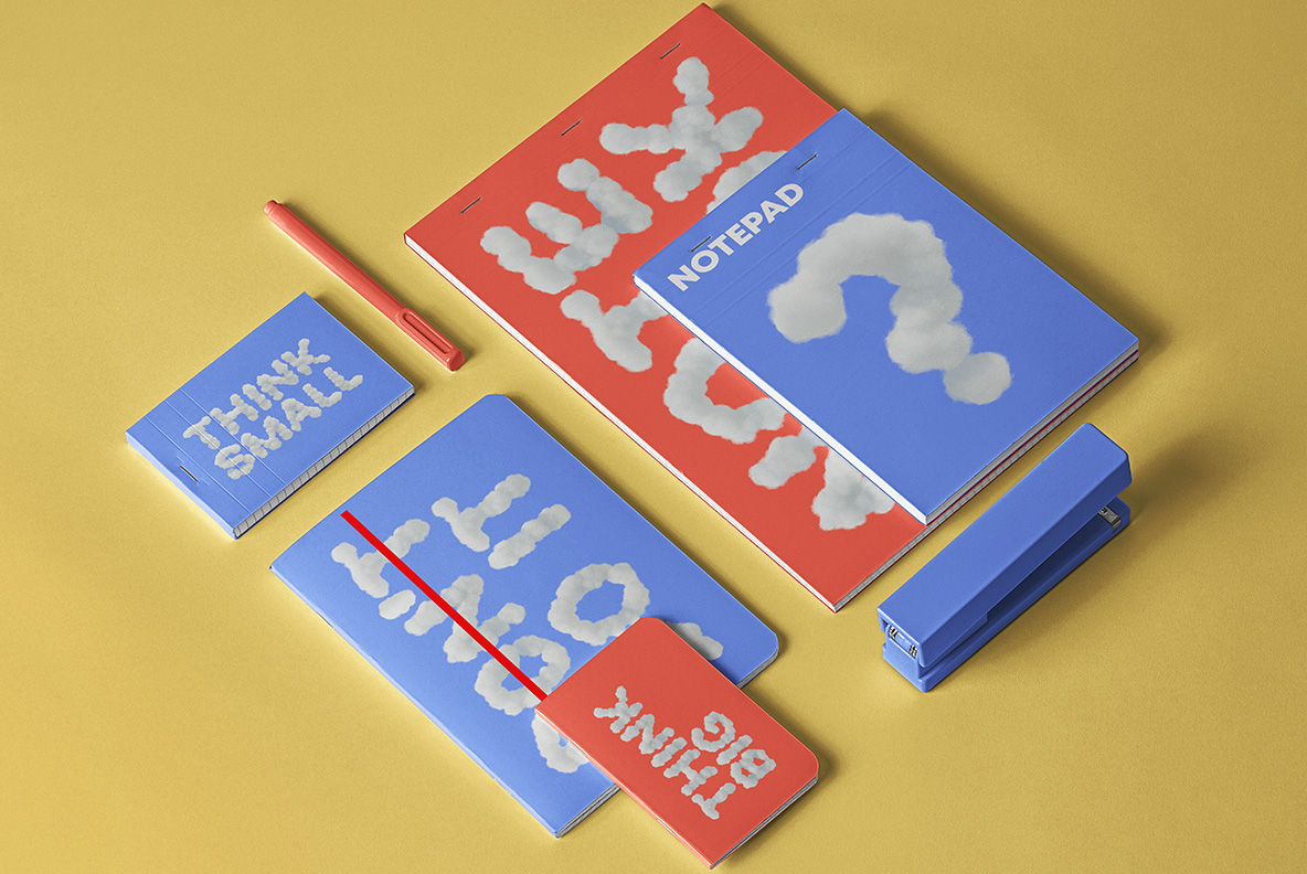 White Clouds Font OpenType Typeface SVG. Notebooks mockup with sky clouds font
