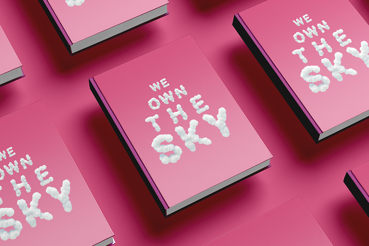 White Clouds Font OpenType Typeface SVG. Book cover with sky clouds font headline